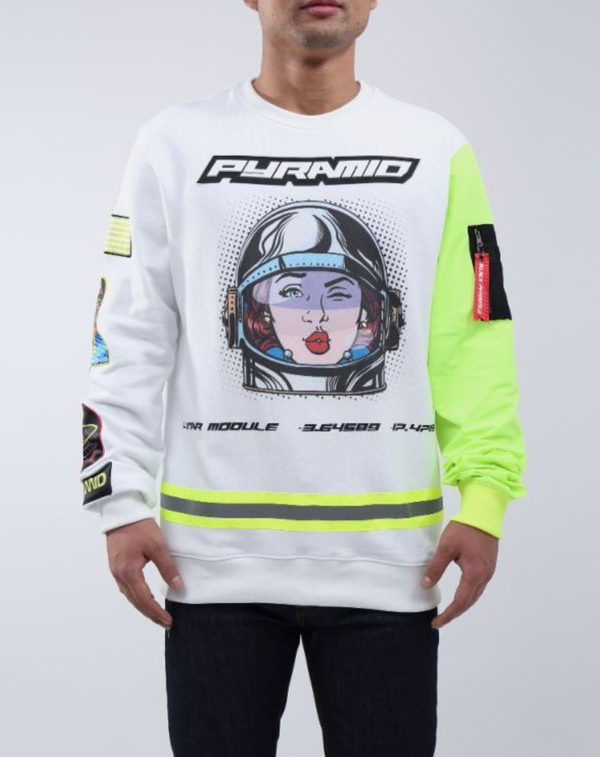 Astro girl crewneck ( white)