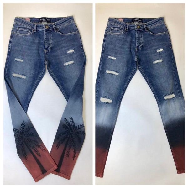 Palm painted jeans (blue)