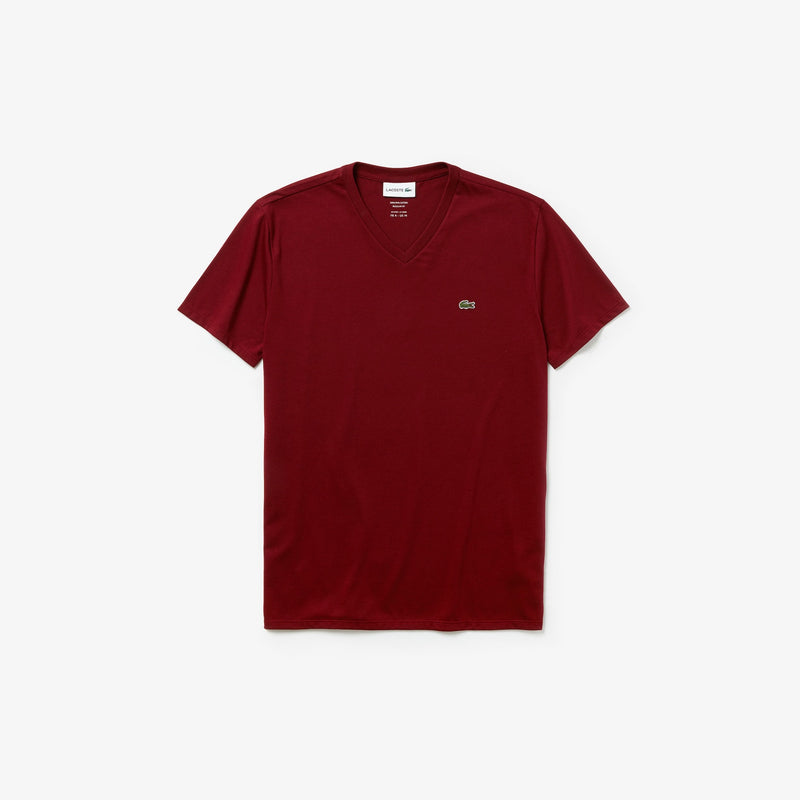 Men's V-neck Cotton  T-shirt (Bordeaux)