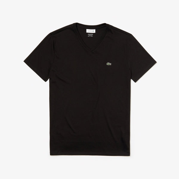 Men's V-neck Pima Cotton Jersey T-shirt (BLACK)