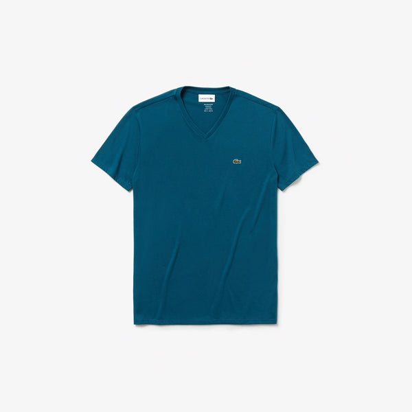 Men's V-neck Pima Cotton Jersey T-shirt (Blue)