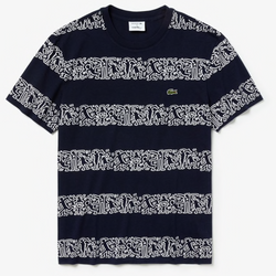 Men's Keith Haring Print Cotton T-shirt (Navy Blue)