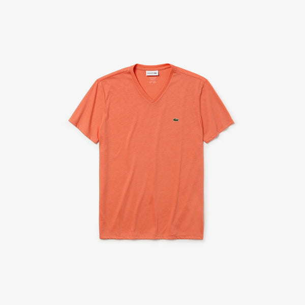 Men's V-neck Cotton T-shirt (LIGHT ORANGE)