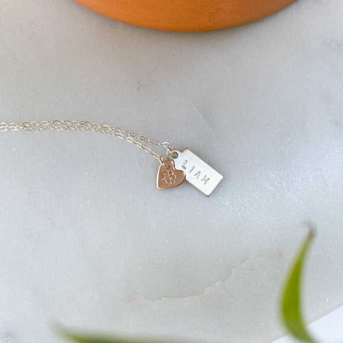 Custom Hand-Stamped Dog Mom Necklace