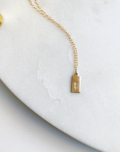 Hand-Stamped Daisy Rectangle Necklace
