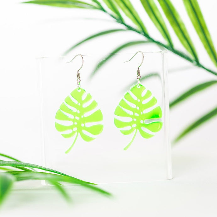 Acrylic Monstera Earring