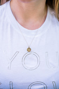 worthy and badass hand stamped necklace