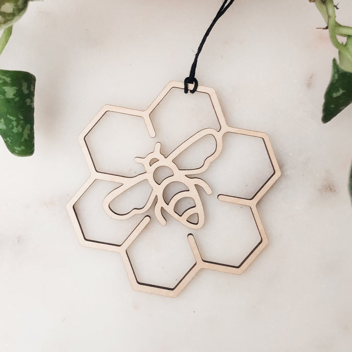 Wood Bee & Honeycomb Ornament