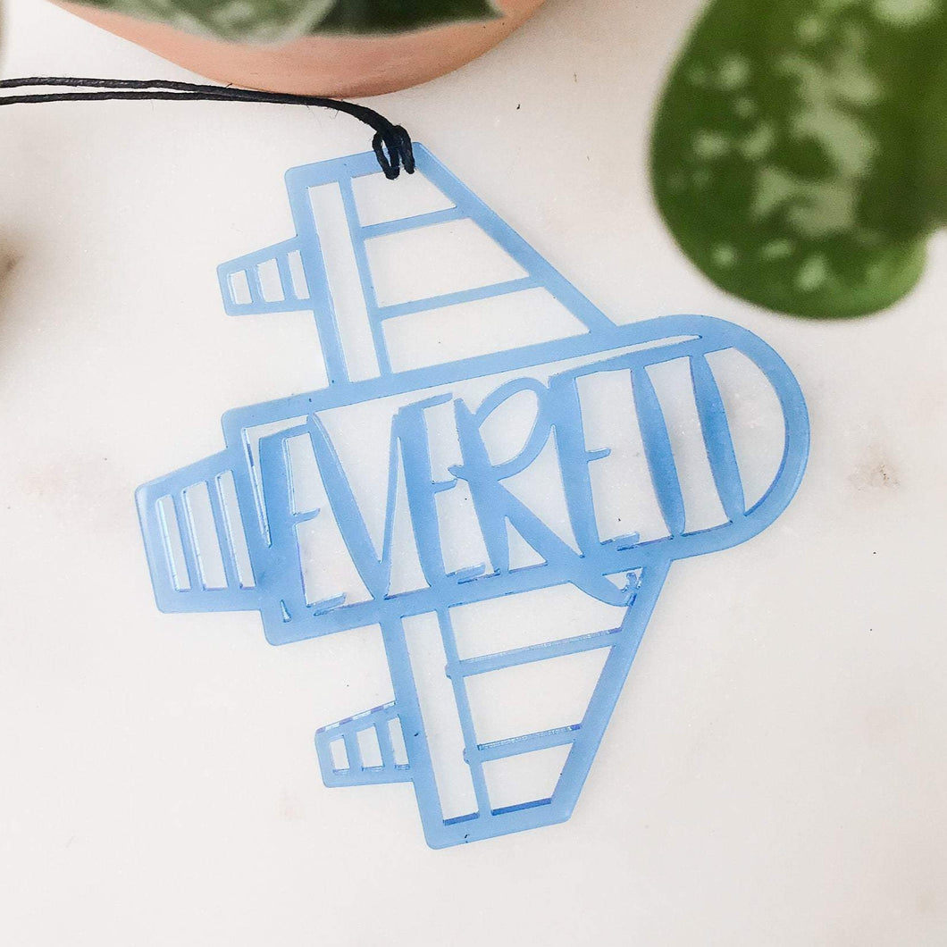 Acrylic Rocket Ship Custom Name Ornament