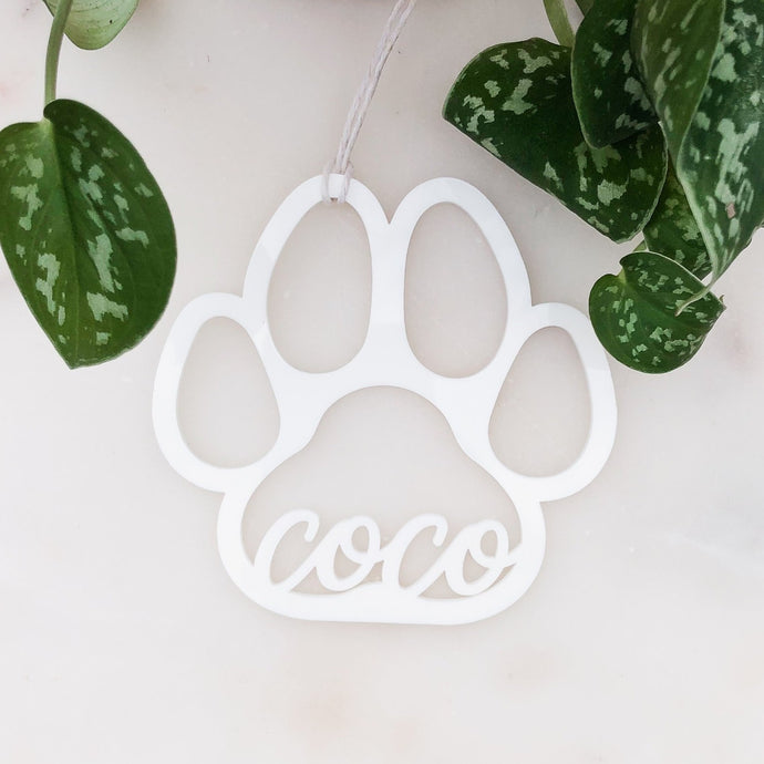 Custom Name Acrylic Paw Print Ornament