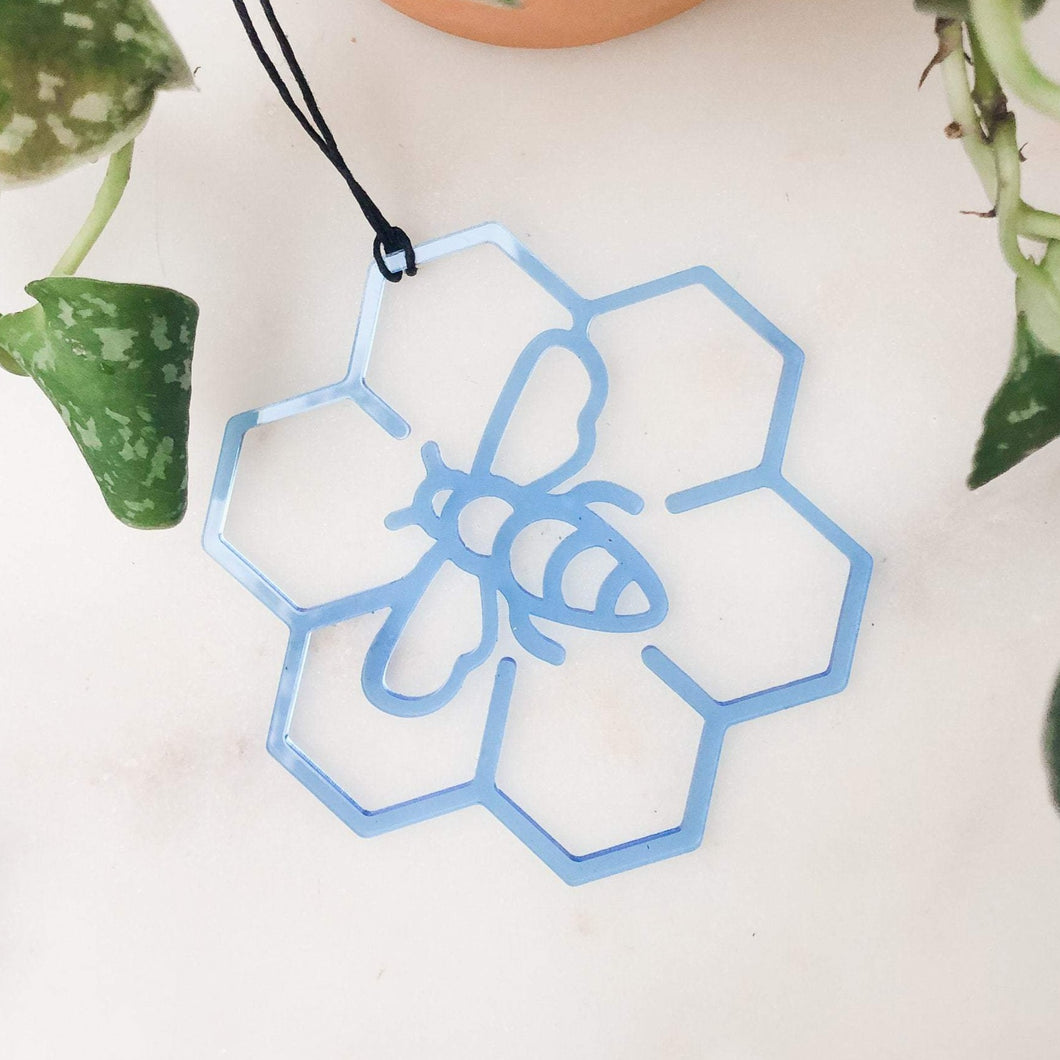 Acrylic Bee & Honeycomb Ornament