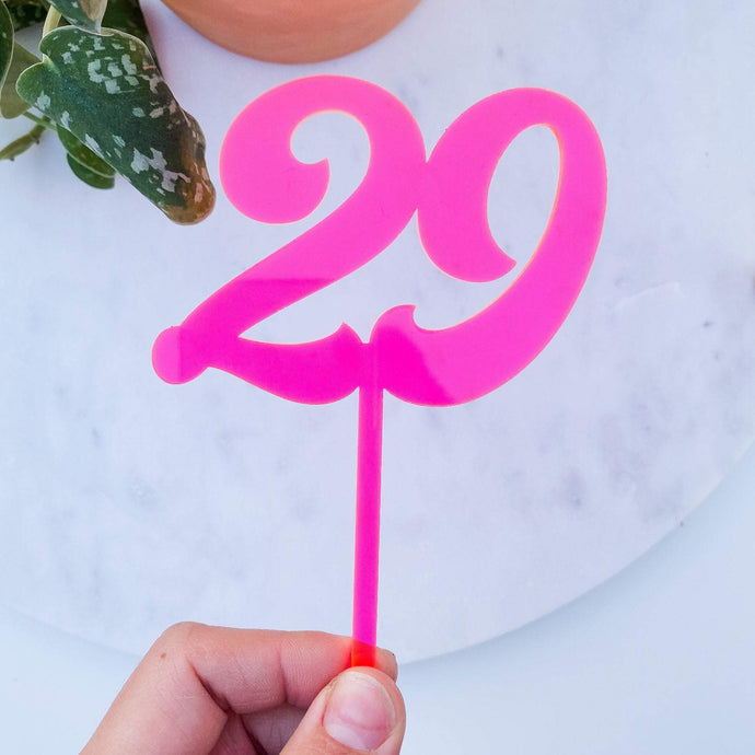 Acrylic Birthday Number Cupcake Topper | Double Number