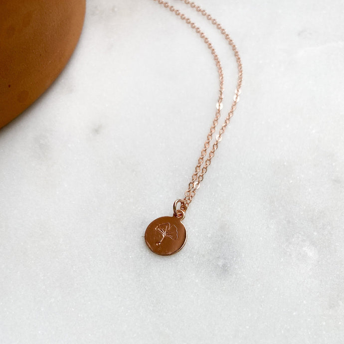 Hand-Stamped Ginkgo Leaf Necklace