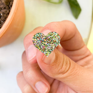 Rainbow Glitter Heart Stud Earrings