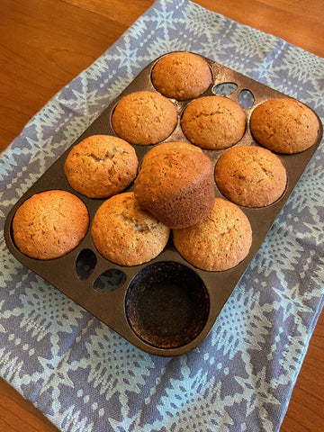 Banana Nut Muffins in a Cast Iron Muffin Pan