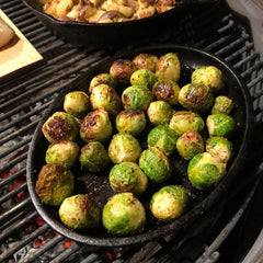 Incredible looking brussel sprouts in cast iron seasoned with Crisbee by Tim Shelburn (instagram.com/tshelburn)