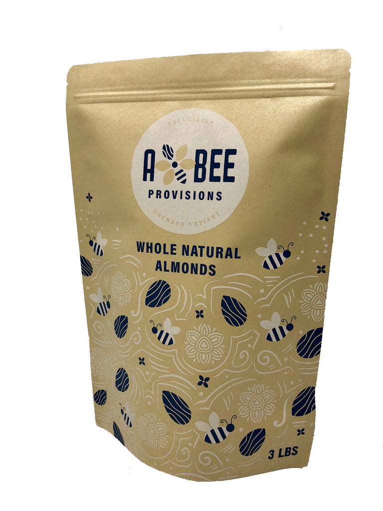 A & Bee Provisions 3 pound bag of whole, natural, raw almonds grown in California