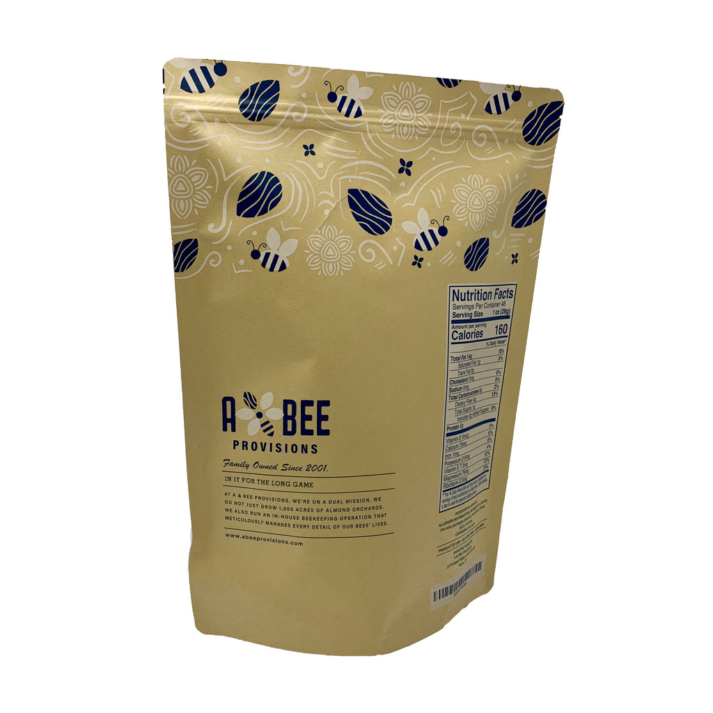 A & Bee Provisions 3 pound bag of whole, natural, raw almonds grown in California with nutrition label
