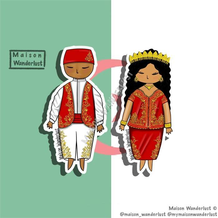 Sticker / magnet - Algerian outfit in red - Maison Wanderlust