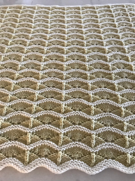 lace eyelet hand knit baby blanket in Ranch 01 American wool yarn