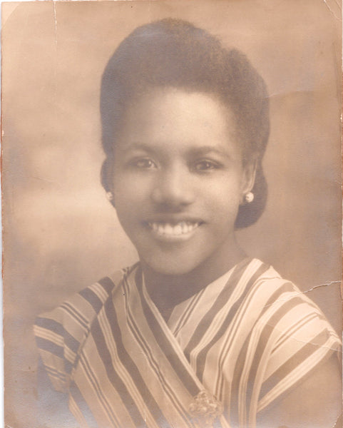 Teju's Jamaican Grandmother in a vintage sepia toned photo from her younger years.