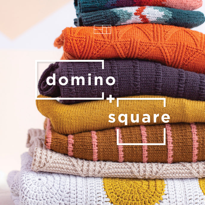 Domino + Square Winter 2021 | Knitting Pattern Collection Lookbook Cover by Brooklyn Tweed