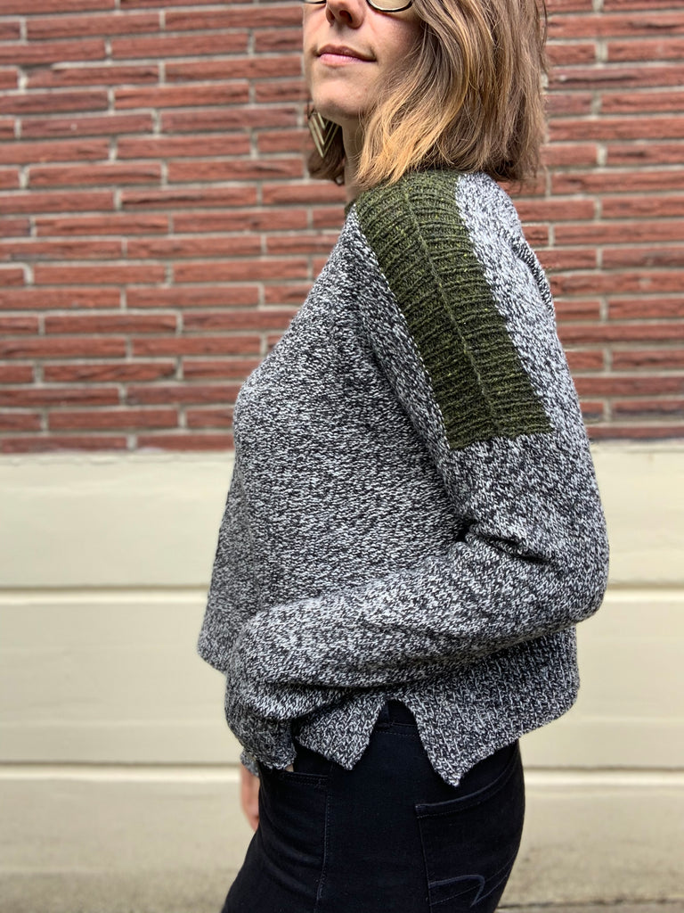 hand knit wool sweater with contrasting shoulder detail