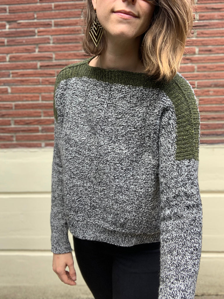 hand knit wool sweater with contrasting shoulder