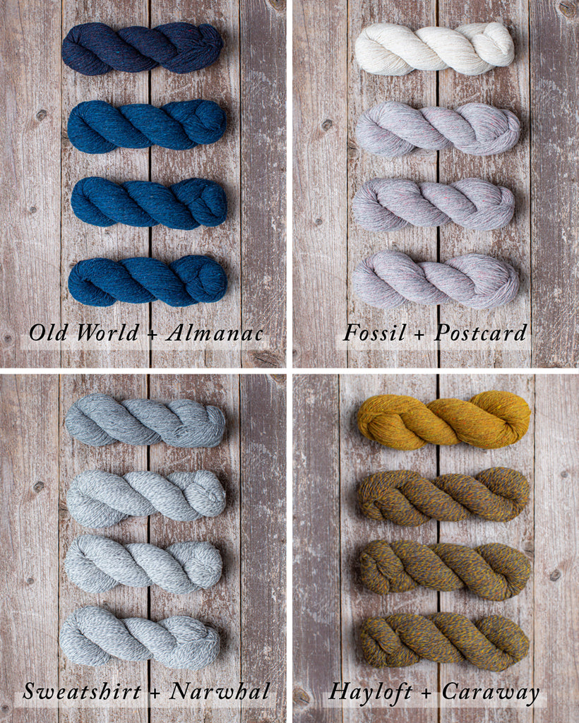 four unique Loft palettes showing hand knit wool color combinations