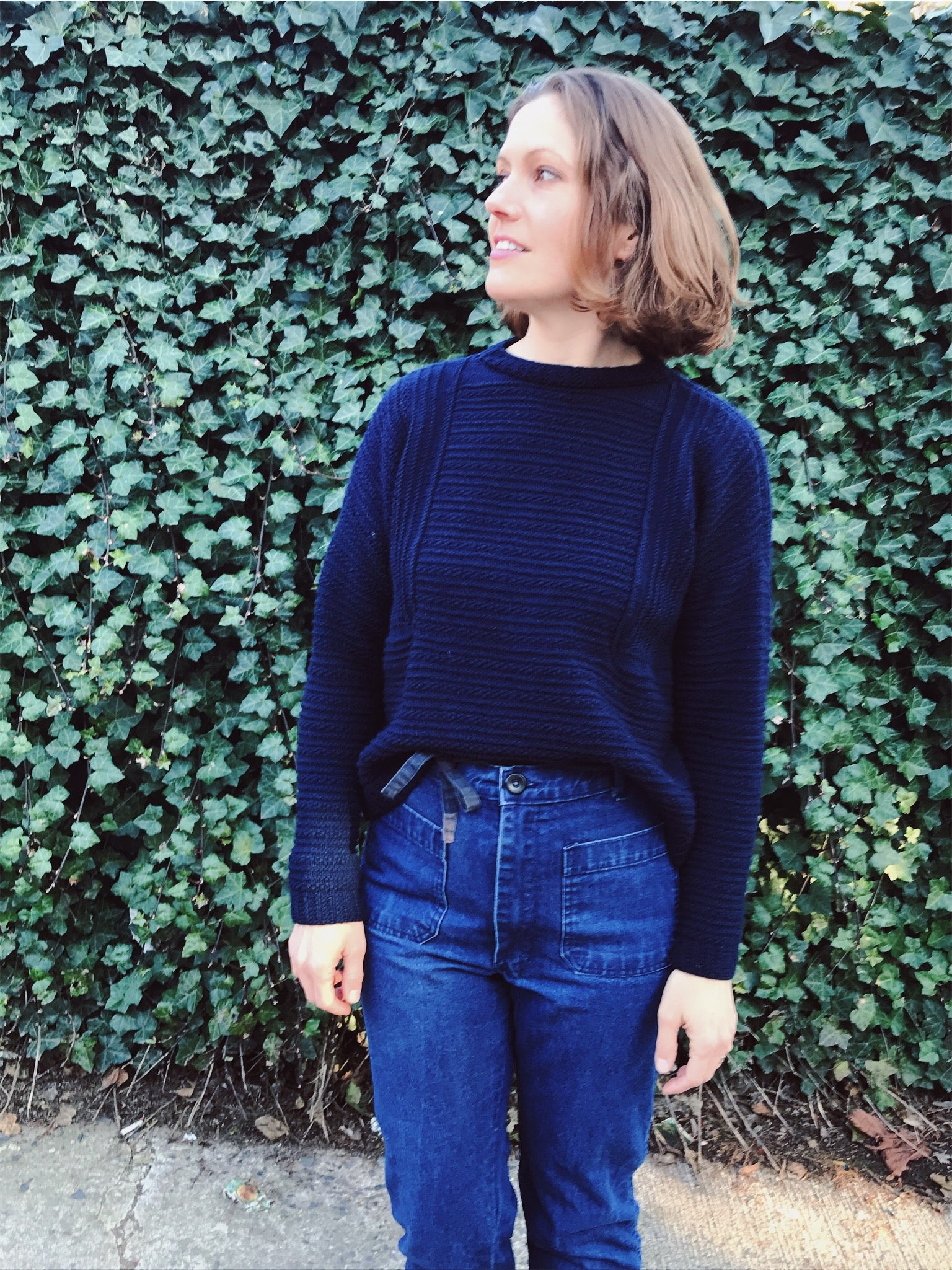 lis wearing her hand knit wool weidlinger sweater