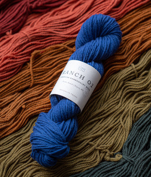 Ranch 02: Forbes is a 3-ply, worsted-weight and woolen-spun 100% Rambouillet yarn sourced from the Forbes Ranch near Kaycee, Wyoming.