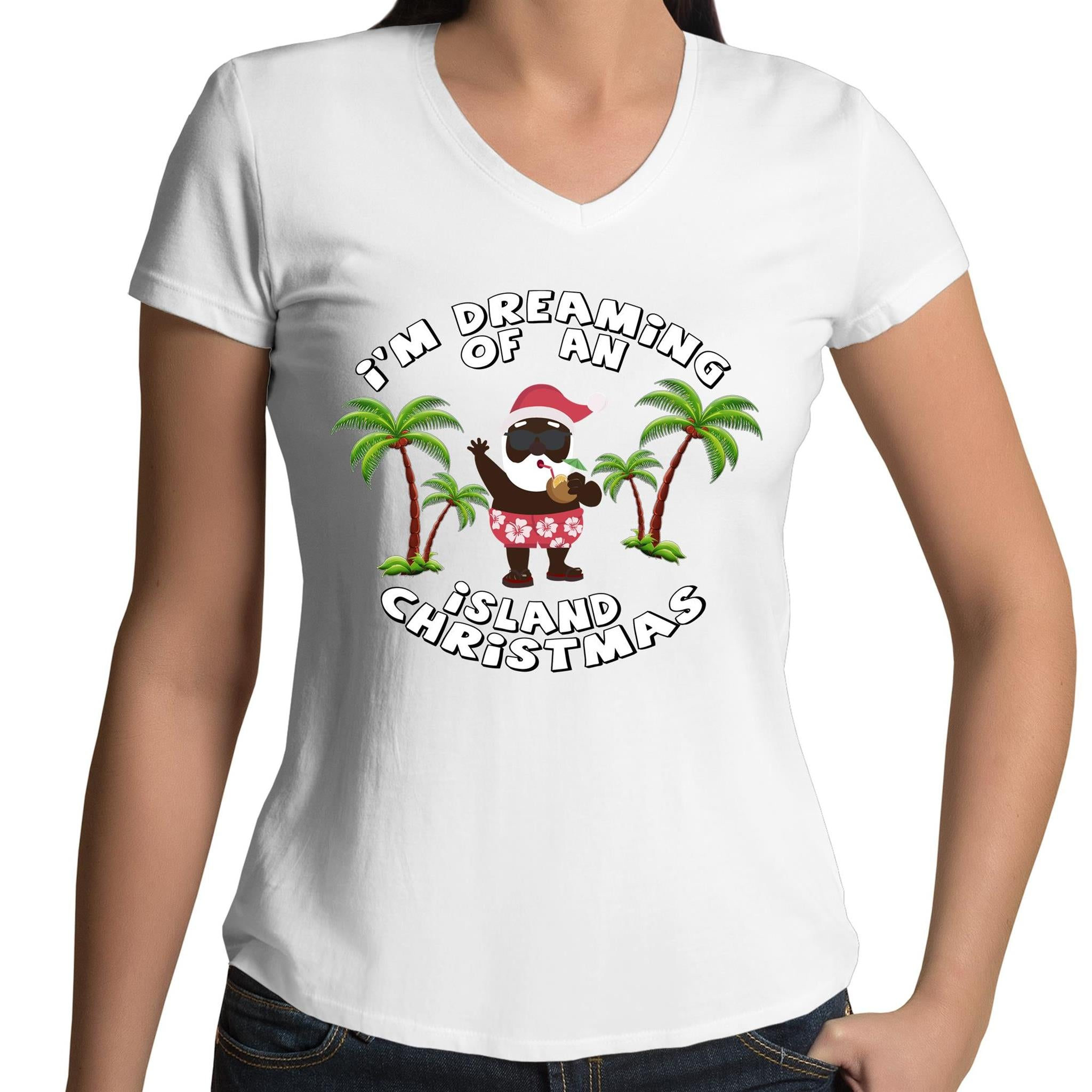 'Island Christmas' V-Neck T-Shirt