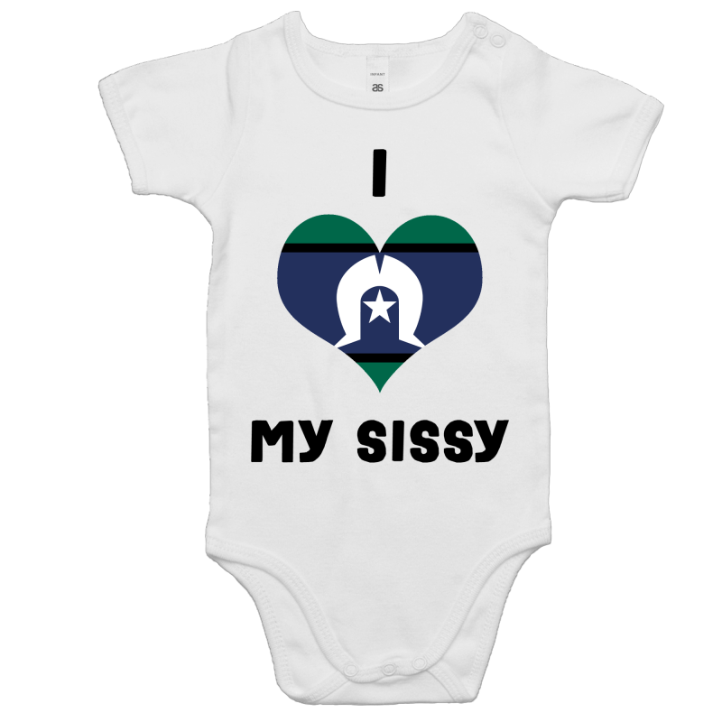 TSI Flag 'I Love My Sissy' Romper - Black