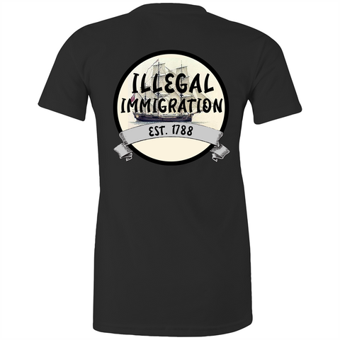 'ILLEGAL IMMIGRATION EST. 1788' Womens Crew Tee