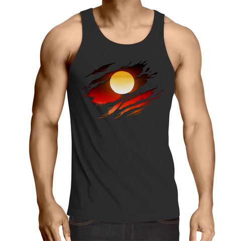 NEW DAWN 'RIPPED EFFECT' MENS SINGLET