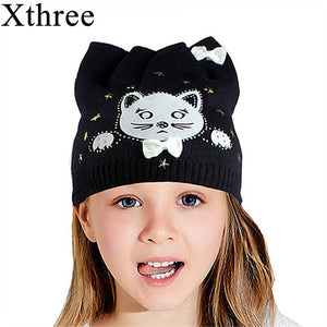 Xthree cute kitty children s winter hat knitted hat baby Rabbit fur cotton beanies  hat for girl aa846b12433f