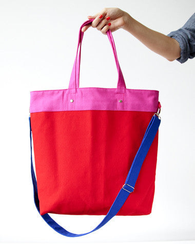 Red/Pink Colorblock Tote