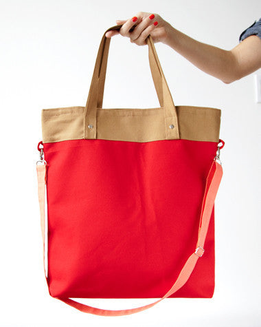 Red/Tan Colorblock Tote