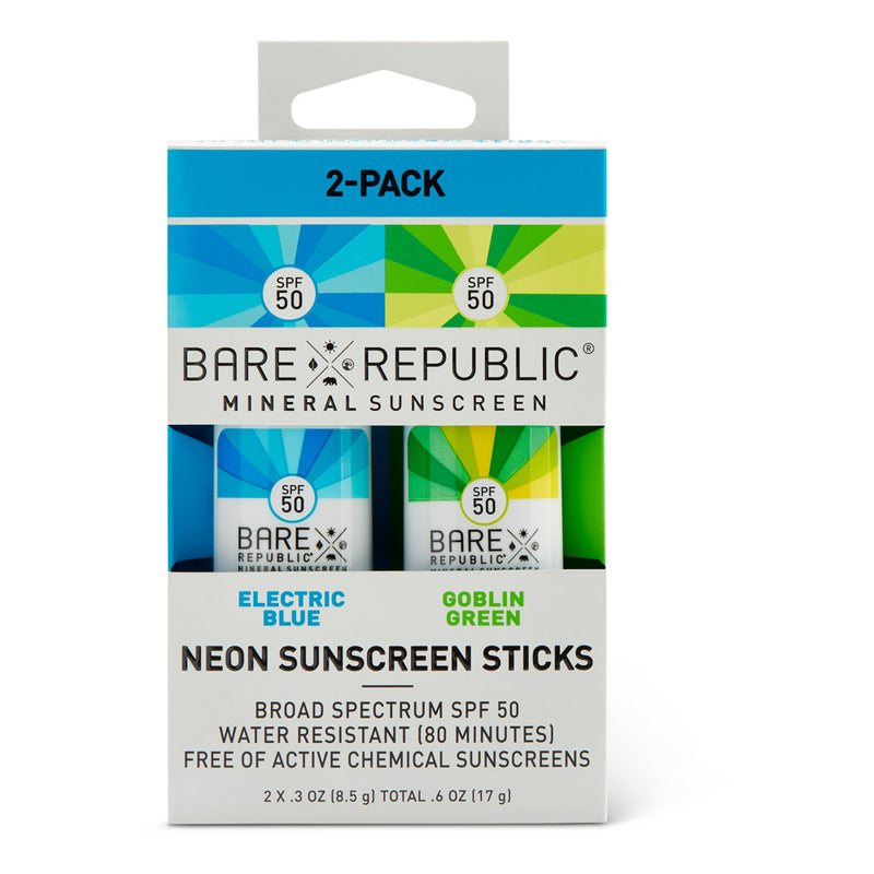 SPF50 Neon Sunscreen Stick 3-Pack - Ocean Edition - Green, Blue, Purple - Bare Republic