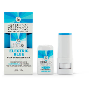 Mineral SPF 50 Neon Sunscreen Stick - Electric Blue