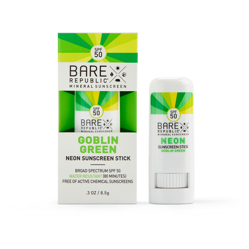 Mineral SPF 50 Neon Sunscreen Stick - Goblin Green - Bare Republic