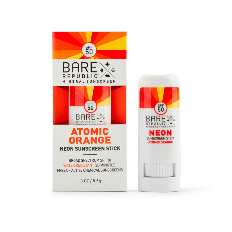 Mineral SPF 50 Neon Sunscreen Stick - Atomic Orange - Bare Republic