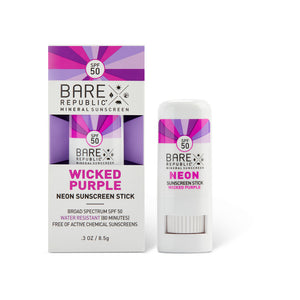 Mineral SPF 50 Neon Sunscreen Stick - Wicked Purple