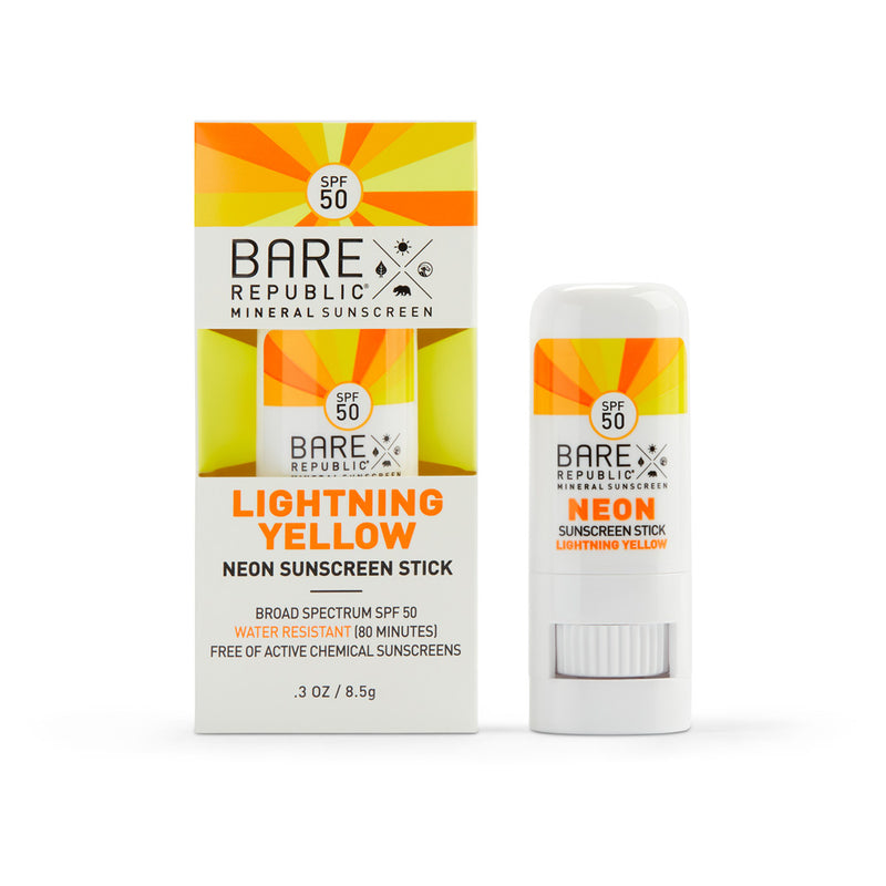 Mineral SPF 50 Neon Sunscreen Stick - Lightning Yellow - Bare Republic