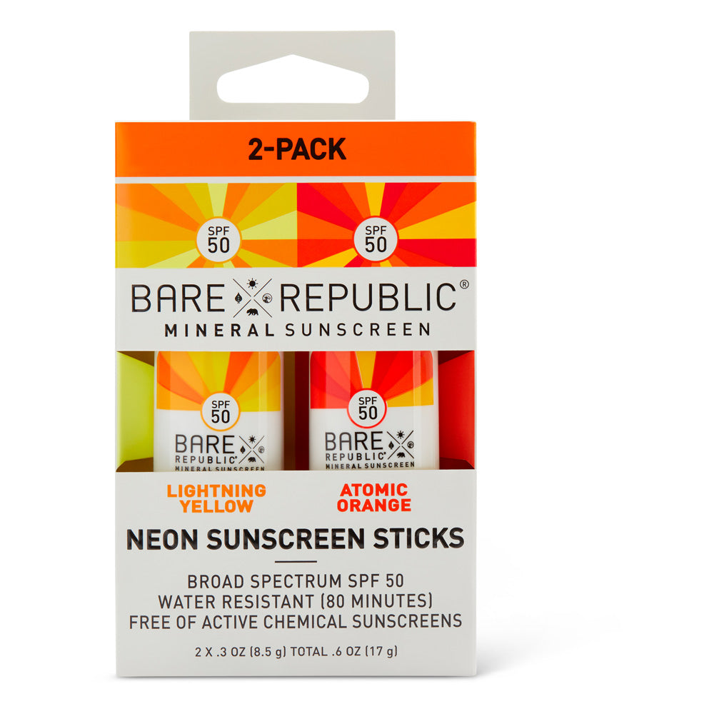 Mineral SPF 50 Neon Sunscreen Stick 2-Pack - Orange, Yellow
