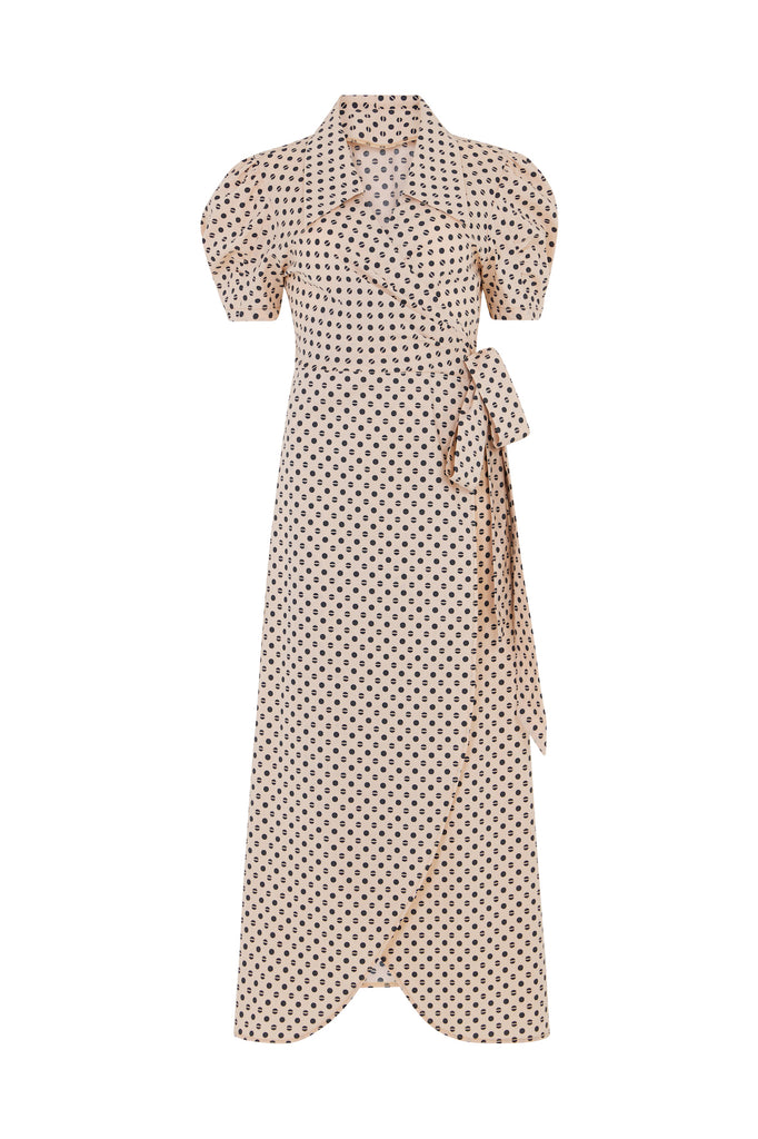 Peach Polka Dot Daisy Dress - hotmamas  london