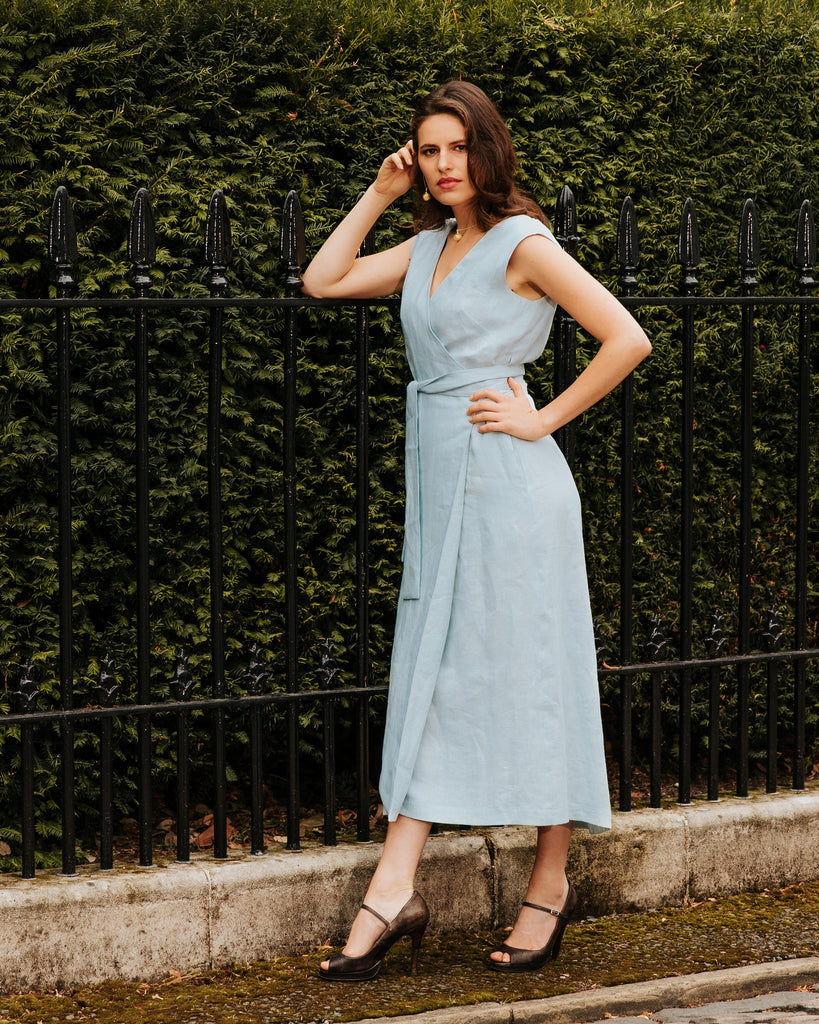 Blue Linen Karen Dress