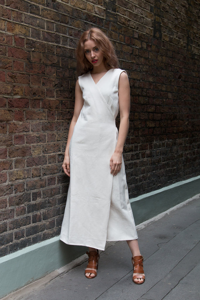 White Denim,  Karen Wrap Dress - hotmamas  london
