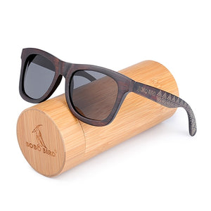 BOBO BIRD Retro Ebony Wooden Sunglasses With Grey Polarized Lens And Fashion Design Laser On Wooden Frame Dropshipping OEM DG08a