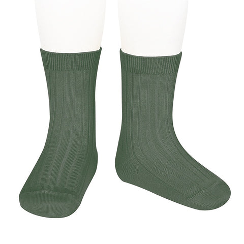 Condor  BASIC RIB SHORT SOCKS LICHEN GREEN ribbed ankle sock 761